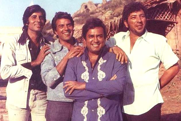 Amitabh Bachchan, Dharmendra, Sanjeev Kumar, Amjad Khan during the filming of Sholay