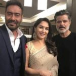Anil Kapoor With Madhuri And Ajay At The Sets Of Total Dhamaal