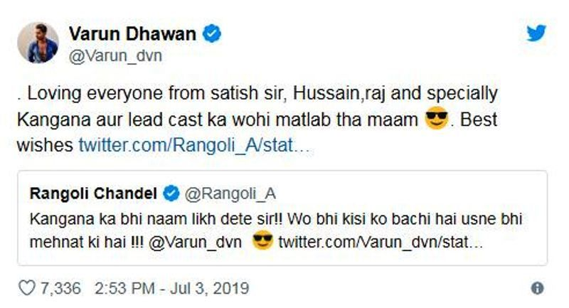 Varun's Reply To Tweet