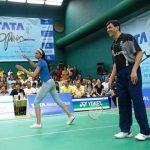 Deepika Padukone playing badminton with her father