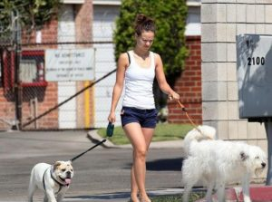 Olivia Wilde with her two pets