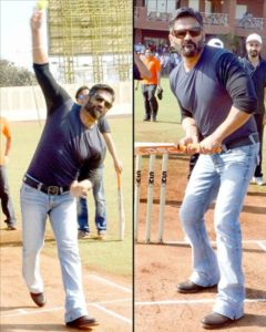 Suniel Shetty playing cricket