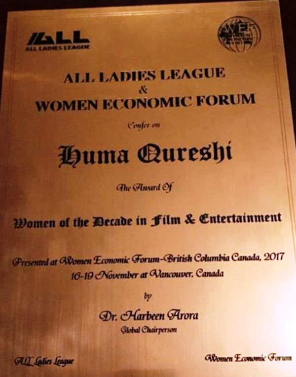 An Award Received by Huma Qureshi