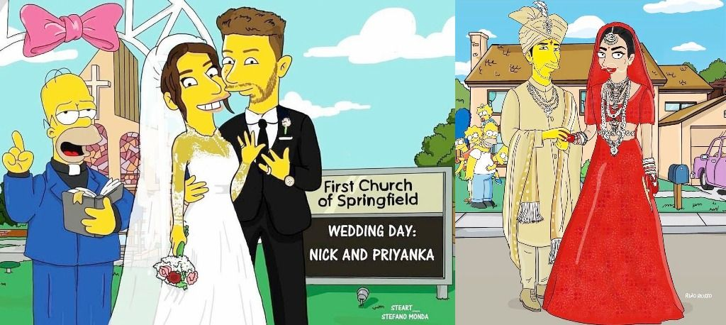 Nick Jonas And Priyanka Chopra's Simpsons Caricatures