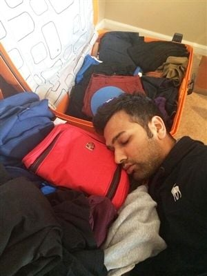 Rohit Sharma Sleeping