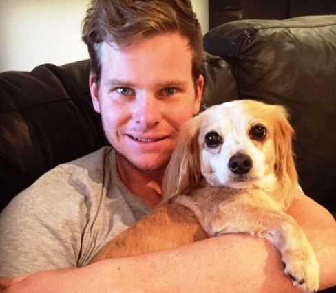 Steve Smith with his dog, Charlie