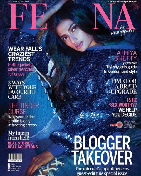 Athiya Shetty on the cover of Femina Magazine