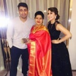 Hansika Motwani with her mother and brother