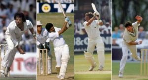 Imran Khan, Kapil Dev, Ian Botham, and Richard Hadlee