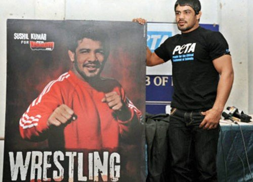 Sushil Kumar after a press conference in association with PETA