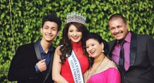 Urvashi Rautela with her Father, Mother and cousin Brother Rakshit Rautela