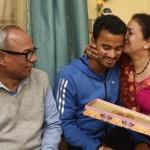 Pawan Negi with his parents