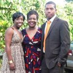 Chris Jordan with his mother and sister