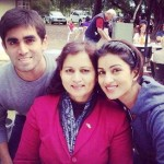 Pallavi Sharda with her mother and brother