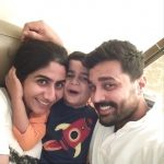 Murali Vijay with his wife and son