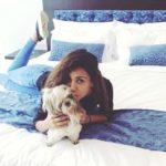 Aisha Sharma with her pet dog Joy