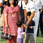 Anil Kumble with his wife and children