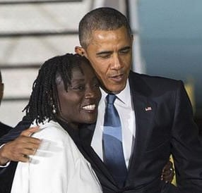 Barack Obama with his older half sister Auma Obama