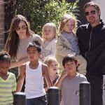 Brad Pitt with his wife and children