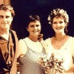 Christian Bale with his sisters Louise, Sharon and mother Jenny
