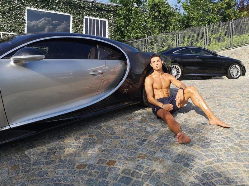 Cristiano Ronaldo with the world's most expensive car, Bugatti La Voiture Noire