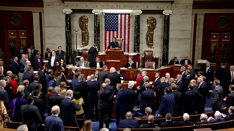 House of Representatives voting for the impeachment of Donald Trump
