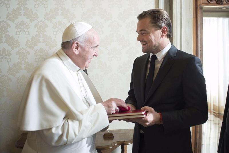 Leonardo DiCaprio meeting Pope Francis