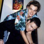 Leonardo Dicaprio with his step brother Adam Farrar