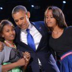 Obama with his daughters Malia and Natasha
