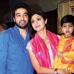 Raj Kundra with his wife and son