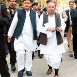 Akhilesh Yadav with his father Mulayam Singh Yadav