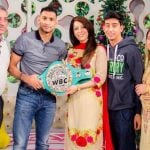 Amir Khan with his parents and siblings