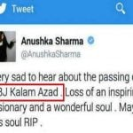 Anushka Sharma tweet on APJ Abdul Kalam