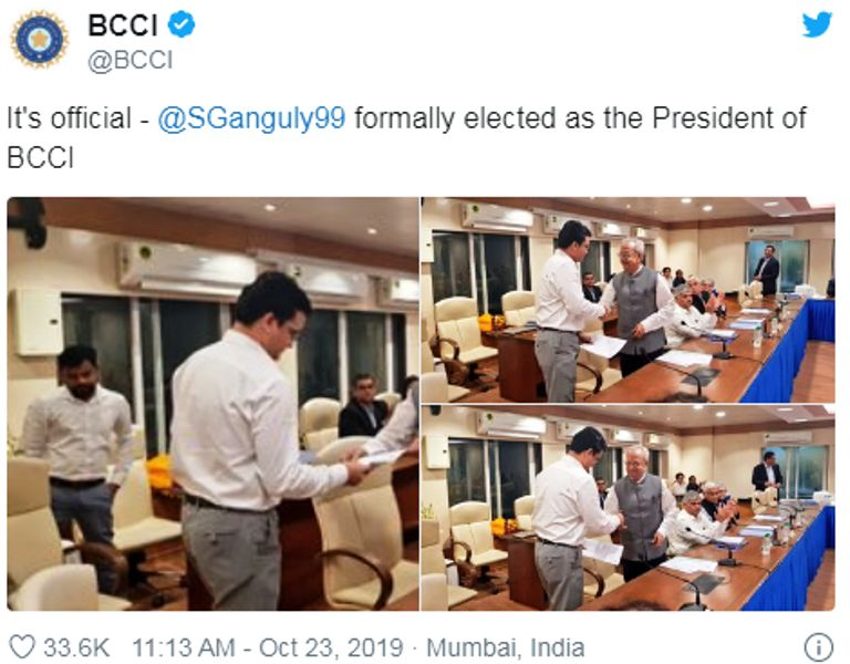 BCCI Twitter Post about Sourav Ganguly Taking Charge as the BCCI President