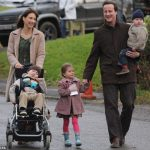 David Cameron with his wife and children