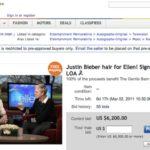 Justin Bieber Hair Sale on ebay