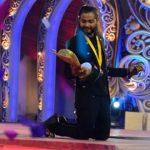 "Kushal Paul after winning the trophy of ""Sa Re Ga Ma Pa"""