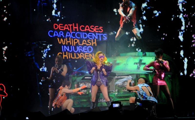 "Lady Gaga performing in the ""Monster Ball Tour"""