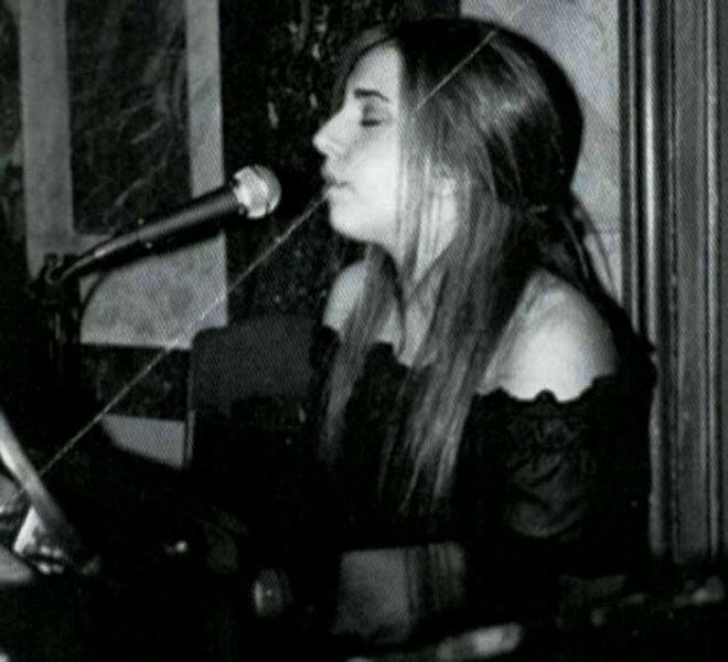 Lady Gaga playing piano during her younger years