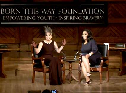 "Lady Gaga speaking with Oprah about the ""Born This Way Foundation"""