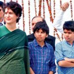 Priyanka Gandhi with her son and daughter