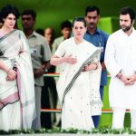 Sonia Gandhi with her son Rahul Gandhi and daughter Priyanka Gandhi