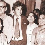 Sunil Gavaskar with his parents and two sisters