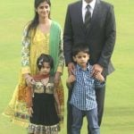 V V S Laxman with his wife and children