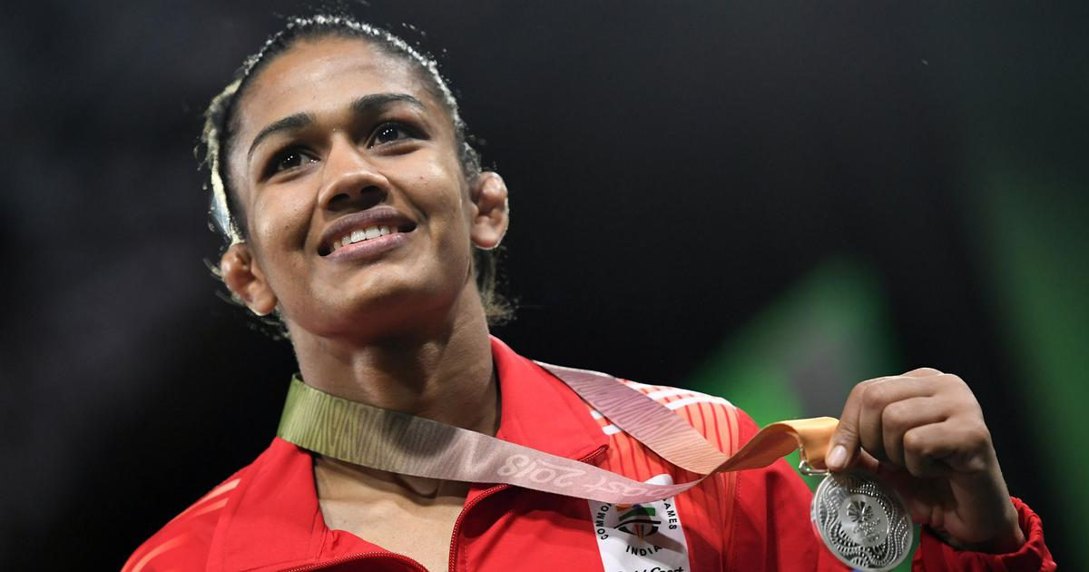 Babita with her Silver at the Goldcoast Commonwealth Games 2018