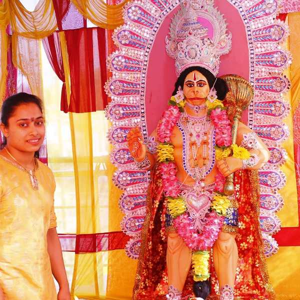 Dipa Karmakar Celebrating Mahavir Puja At Her Home