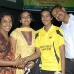 P.V.Sindhu with family