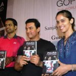 Pullela Gopichand with Aamir Khan and Saina Nehwal at his book launch
