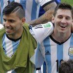 Sergio Aguero with Leonel Messi