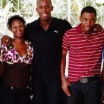 Usain Bolt with his parents and siblings